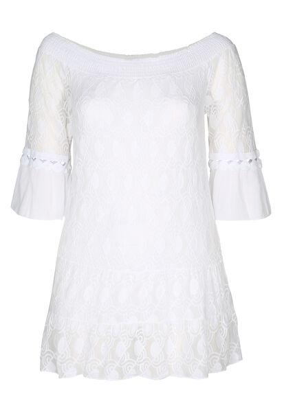 Tuniek t-shirt in geborduurde netstof en crêpe - Wit