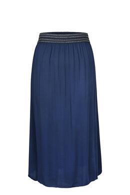 Lange rok met elastische tailleband in lurex, Indigo
