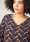 Blouse met luipaardprint en kettinkje, Marineblauw
