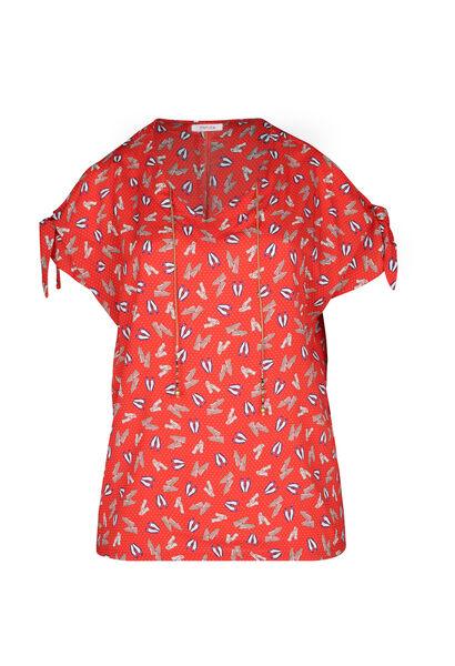 Bloes met blote schouders - Rood