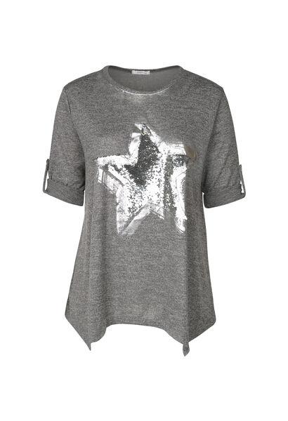 Tuniek-T-shirt met ster van lovertjes - Antraciet