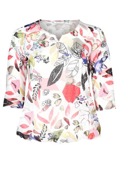 T-shirt in linnentricot met bladprint - Koraal