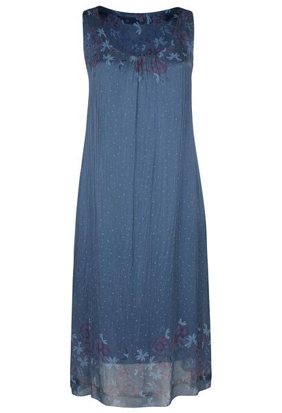 Lange, zijden jurk met bloemetjes en stippen - Indigo