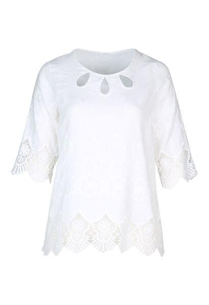 Bloes in linnen met borduurwerk - Wit