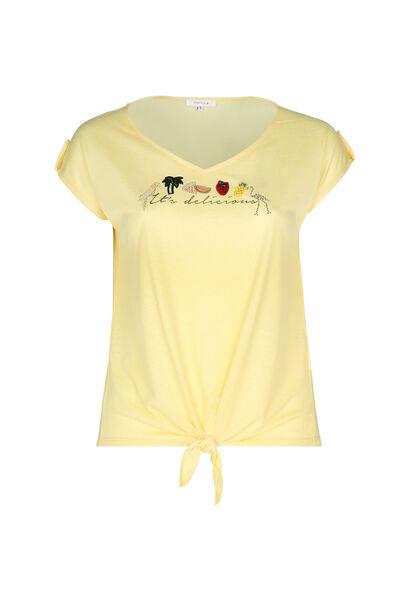 """T-shirt """"It's delicious"""" met borduurwerk - Geel"""
