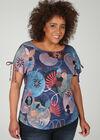 T-shirt in linnentricot met geometrische print, Multicolor