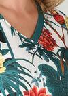 Jurk in tricot met een tropische print en papegaaitjes, Wit