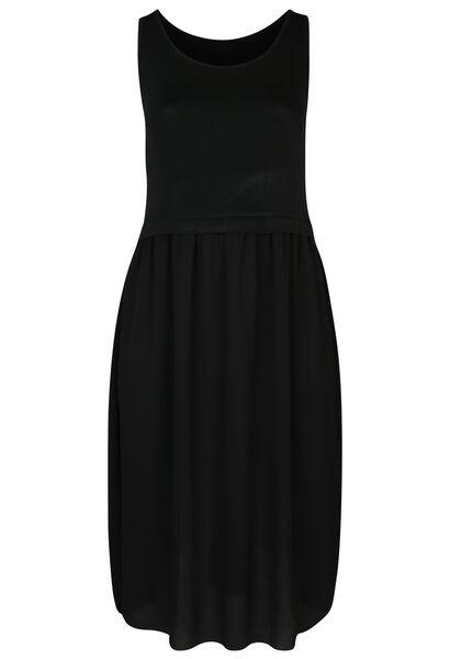 Lange jurk in twee stoffen - Zwart