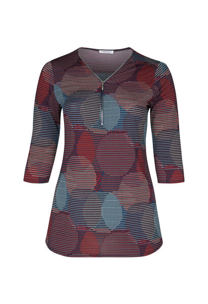 Tuniek t-shirt in tricot met cirkelprint - Multicolor