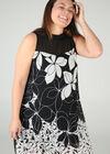 Jurk met bloemenprint, Zwart