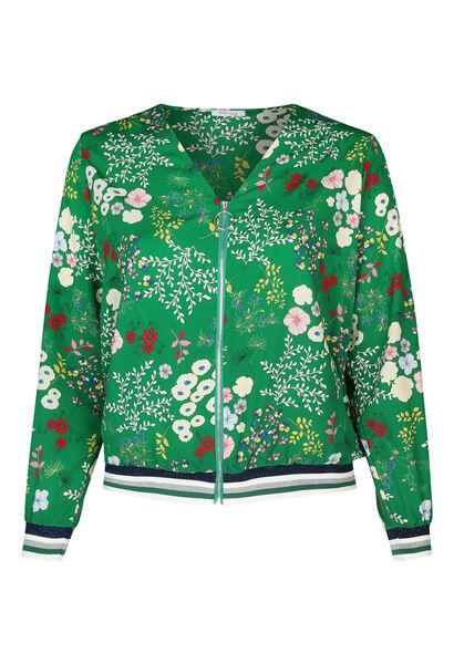 Bomberjack met bloemetjes - Groen
