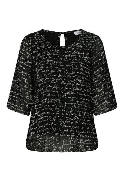 Blouse in voile met geschreven print - Zwart