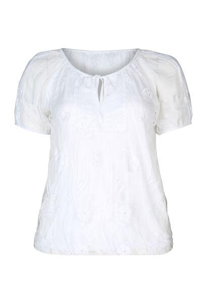 T-shirt in scheurtjestricot met strassteentjes - Wit