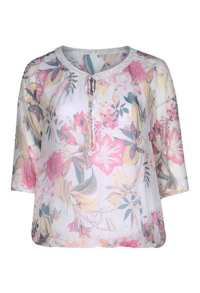 Bedrukte bloes in zijde en viscose - Roze