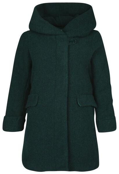 Wollen mantel met kap - Groen