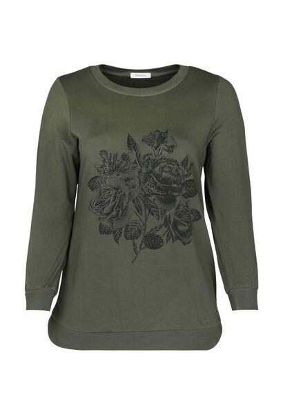 Sweater met rozenprint en strassteentjes - Kaki