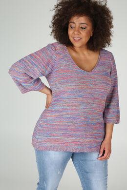 Gestreepte trui met 3/4-mouwen, Multicolor
