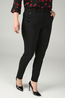 Geklede broek met knoopdetails, Zwart