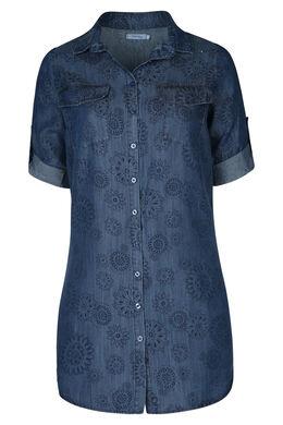 Lang hemd in lyocell met bloemenprint, Denim
