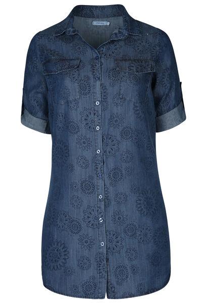 Lang hemd in lyocell met bloemenprint - Denim