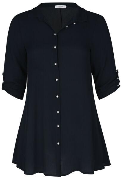 Lang hemd met parelknopen - Marineblauw