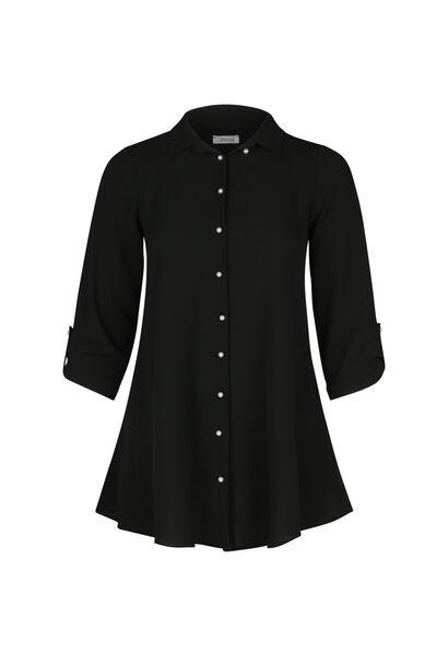 Lang hemd met parelknopen - Zwart