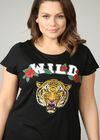 T-shirt met tijgerkop en wildprint, Zwart