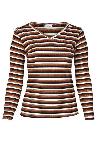 T-shirt met een bedrukking van strepen in lurex - Oranje
