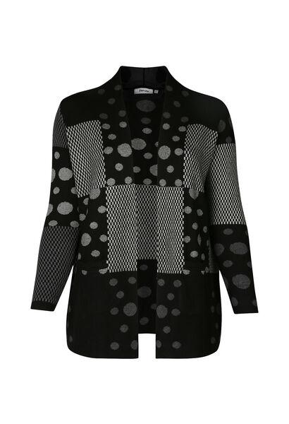 Cardigan patchprint ruiten en stippen - Zwart