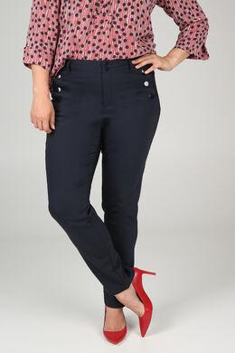 Geklede broek met knoopdetails, Marineblauw