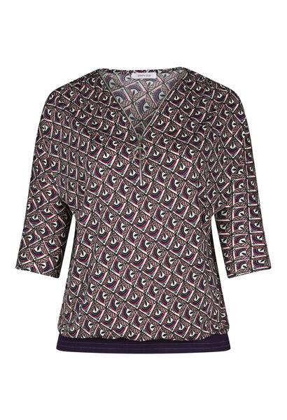 T-shirt met mozaïekprint en ritskraag - Violet