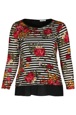 T-shirt met strepen en bloemen, Zwart