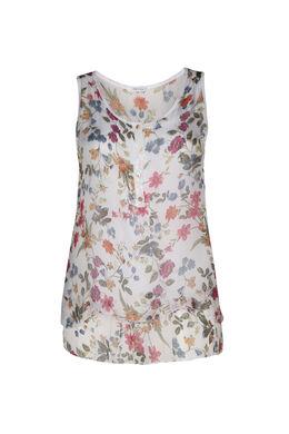 Dubbele topje in zijde met bloemenprint, Wit