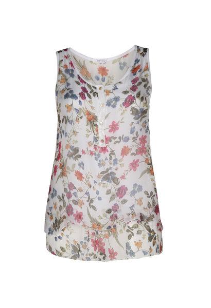 Dubbele topje in zijde met bloemenprint - Wit