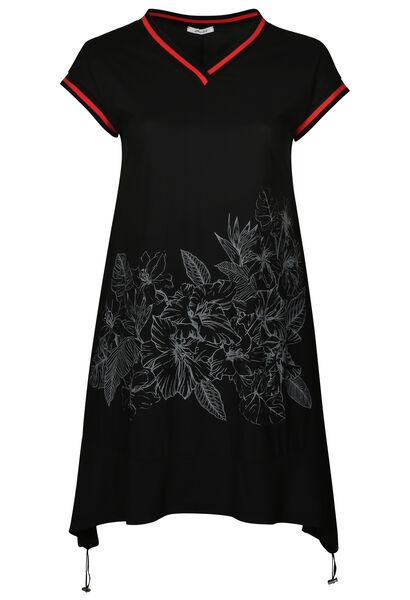 Tuniekjurk met sportswear-stroken - Zwart