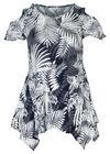 Tuniek t-shirt met gomprint van bladeren, Marineblauw