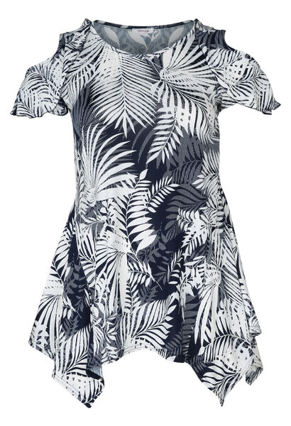 Tuniek t-shirt met gomprint van bladeren - Marineblauw