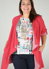 Lange jas in gestreept tricot, Rood