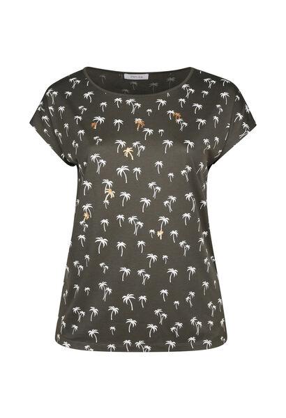 Katoenen T-shirt met palmprint - Kaki