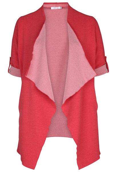 Lange jas in gestreept tricot - Rood