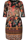 Jurk met suèdine-look en dierenhuidprint, Multicolor