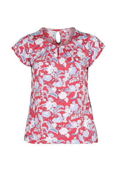 T-shirt in koel tricot met gomprint van bloemen en bladeren - Oranje