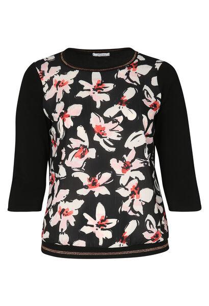 T-shirt in twee stoffen met bloemenprint - Zwart