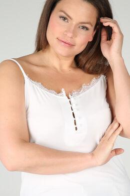 Top met dunne, aanpasbare schouderbandjes, Ecru