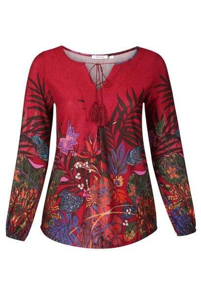 T-shirttuniek bedrukt met bloemen en bladeren - Bordeaux