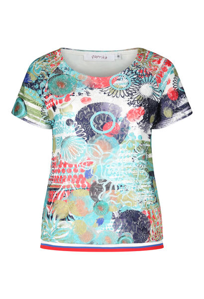 T-shirt in bedrukte kant - Multicolor