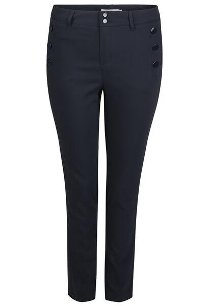 Geklede broek met knoopdetails - Marineblauw