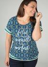 T-shirt met boodschap in wasprint, Groen