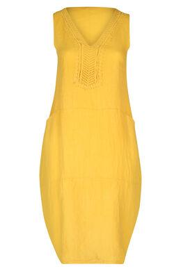Middenlange jurk in linnen, Geel
