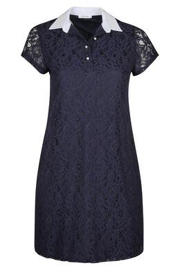 Kanten jurk met hemdskraag en kralen, Marineblauw